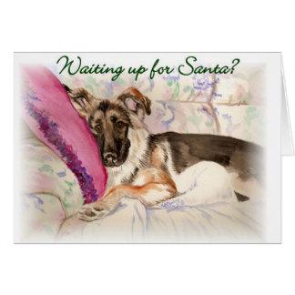 German Shepherd Waiting Up For Santa Card