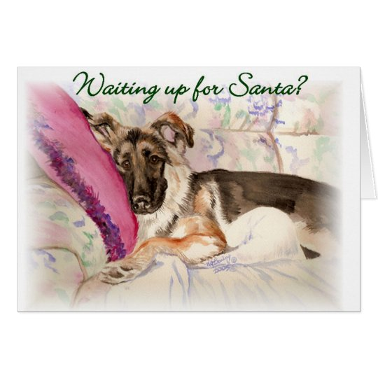 "German Shepherd ""Waiting Up For Santa"" Card"