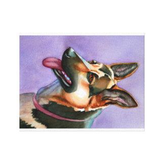 German Shepherd Watercolor Portrait on Canvas Canvas Print