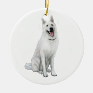 German Shepherd - White Christmas Ornament