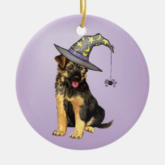 German Shepherd Witch Round Ceramic Decoration