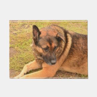 German Shepherd with One Floppy Ear Doormat