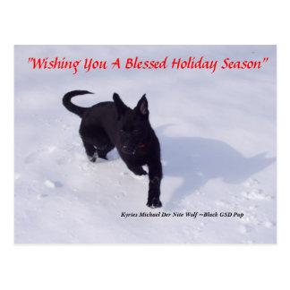 German Shepherd xmas postcard