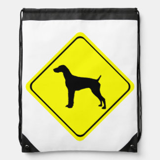 German short-Haired Pointer Dog Crossing Sign Drawstring Backpack