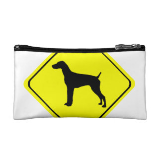 German short-Haired Pointer Dog Crossing Sign Cosmetic Bag