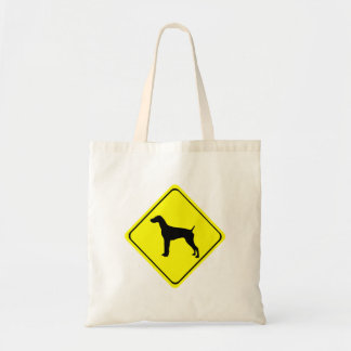 German short-Haired Pointer Dog Crossing Sign Budget Tote Bag
