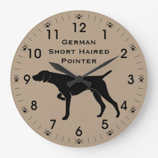 German Short Haired Pointer Dog Silhouette Large Clock