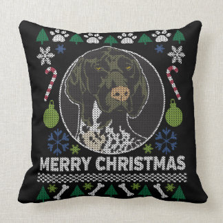 German Shorthair Pointer GSP Ugly Christmas Sweatr Cushion