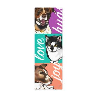 German-Shorthair Pointer Mix & Cat Joy, Love, Hugs Canvas Print