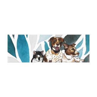 German-Shorthair Pointer Mixes & Cat Blue Abstract Canvas Print