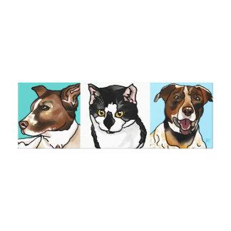 German-Shorthair Pointer Mixes & Cat Cubes Canvas Print