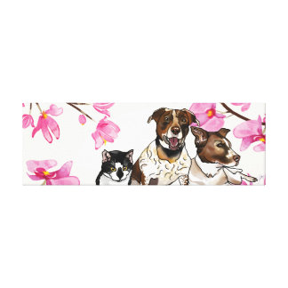 German-Shorthair Pointer Mixes & Cat with Orchids Canvas Print