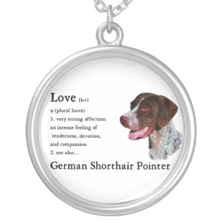 German Shorthaired Pointer Art Love Is Silver Plated Necklace