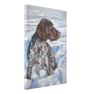German Shorthaired Pointer Art on Stretched Canvas Canvas Print
