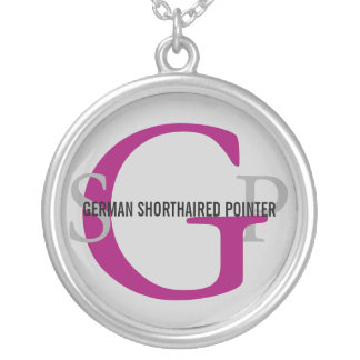 German Shorthaired Pointer Breed Monogram Design Round Pendant Necklace