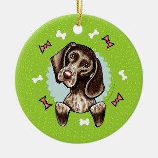 German Shorthaired Pointer Christmas Wreath Round Ceramic Decoration