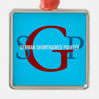 German Shorthaired Pointer Monogram Design Silver-Colored Square Decoration