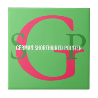 German Shorthaired Pointer Monogram Small Square Tile