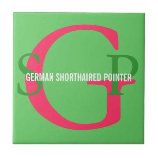 German Shorthaired Pointer Monogram Small Square Tile