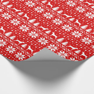 German Shorthaired Pointers Christmas Pattern Red Wrapping Paper
