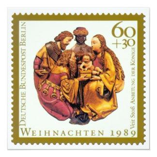 German Stamp Christmas Card: Adoration Of The Magi 13 Cm X 13 Cm Square Invitation Card