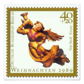 German Stamp Christmas Card: Angel with Horn 13 Cm X 13 Cm Square Invitation Card