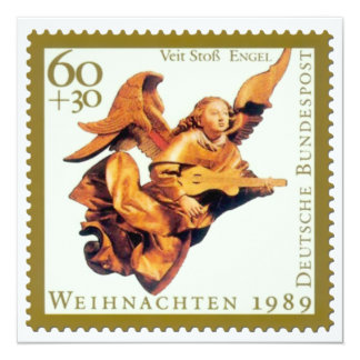 German Stamp Christmas Card: Angel with Lute 13 Cm X 13 Cm Square Invitation Card