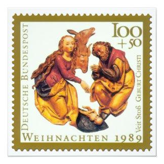 German Stamp Christmas Card: Mary & Joseph 13 Cm X 13 Cm Square Invitation Card