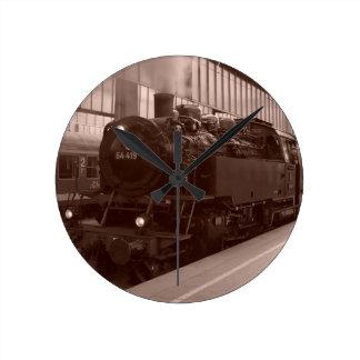 German Steam Locomotive Round Clock