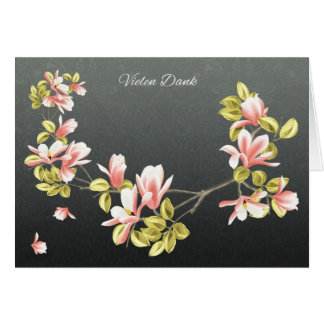 German Thank you card with pretty pink Magnolia