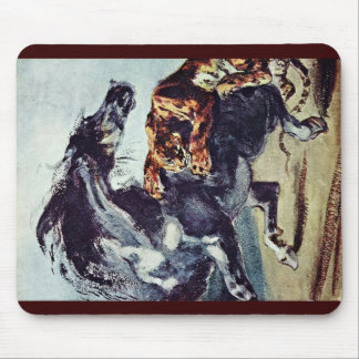 German Tiger Attacking A Horse Mousepads