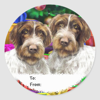 German WH Pointer Open Gifts Christmas Gift Tags Round Sticker