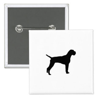 German wire-haired Pointer dog Silhouette 15 Cm Square Badge
