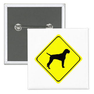 German Wired-Haired Pointer Dog Crossing Sign 15 Cm Square Badge
