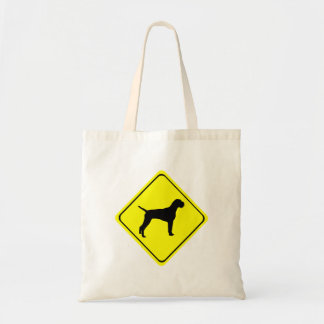 German Wired-Haired Pointer Dog Crossing Sign Budget Tote Bag