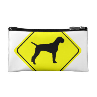 German Wired-Haired Pointer Dog Crossing Sign Cosmetics Bags