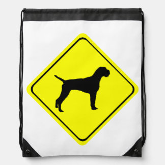 German Wired-Haired Pointer Dog Crossing Sign Drawstring Bags