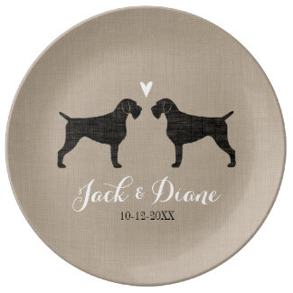 German Wirehaired Pointer Silhouettes with Heart Porcelain Plates