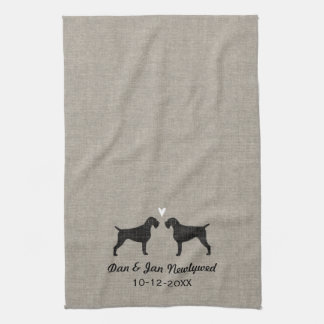 German Wirehaired Pointer Silhouettes with Heart Tea Towels