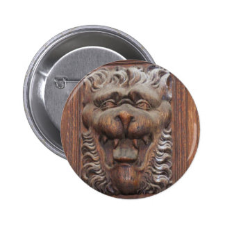 German WOOD CARVING - LION Medieval architecture 6 Cm Round Badge