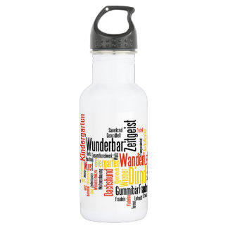 German Word Cloud - Deutsche Wortwolke 532 Ml Water Bottle