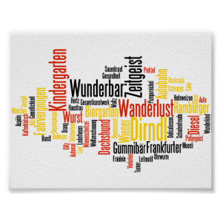 German Words in the English Language Word Cloud Poster