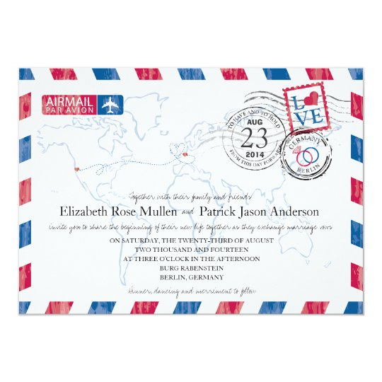 Germany Airmail Wedding Invitation