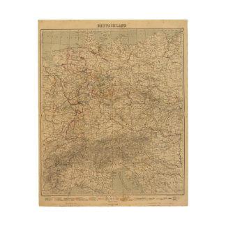 Germany Atlas Map Wood Canvas