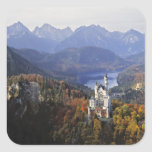 Germany, Bavaria, Neuschwanstein Castle. King Square Stickers