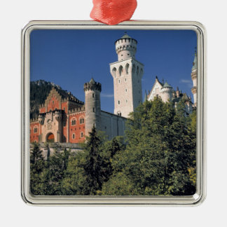 Germany, Bavaria, Neuschwanstein Castle. Silver-Colored Square Decoration