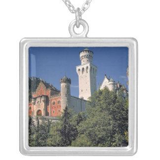 Germany, Bavaria, Neuschwanstein Castle. Silver Plated Necklace
