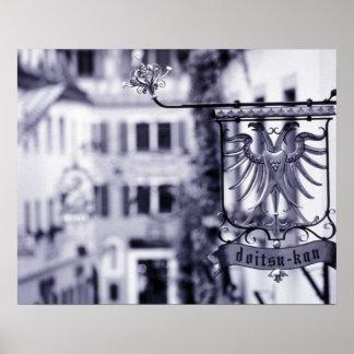 Germany, Bavaria, Rottenburg. Hotel sign Poster