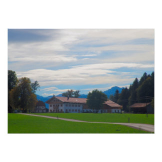 Germany Bavaria rural farmhouse in the foothills Print