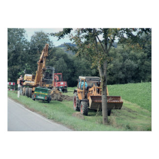 Germany Bavaria village heavy digging equipment Poster